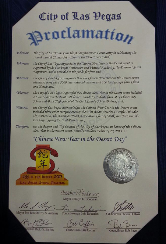 City of Las Vegas Proclamation to CNY in the Desert